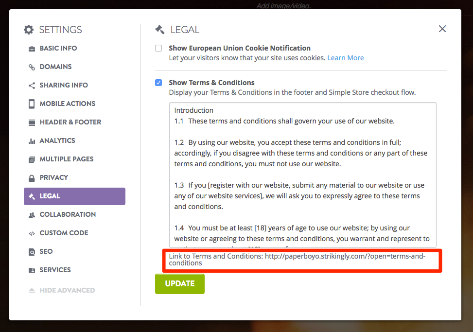 Add Terms of Service or Privacy Policy – Strikingly Help Center