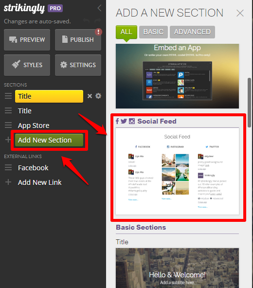 Social Feed Section – Strikingly Help Center