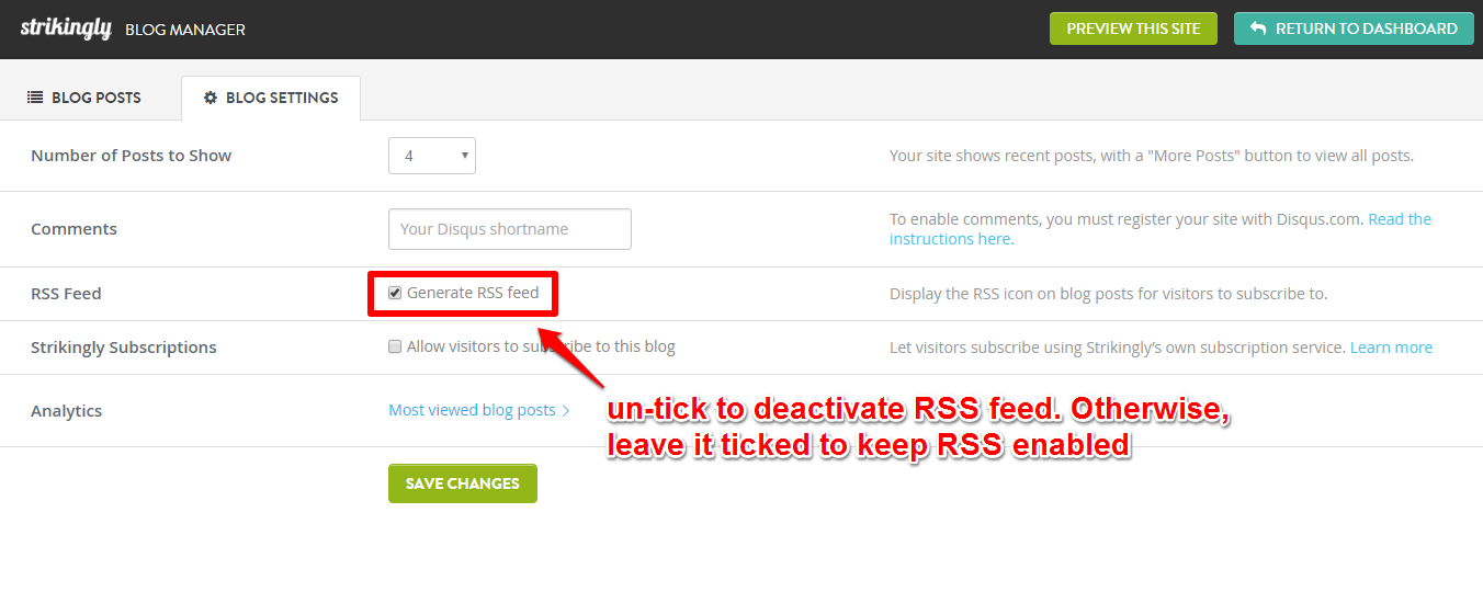 how do i enable a rss feed for my strikingly blog? \u2013 strikingly helpon every blog post you publish on strikingly, your visitor will see a rss icon at the bottom of your blog post the url of your blog feed will appear as