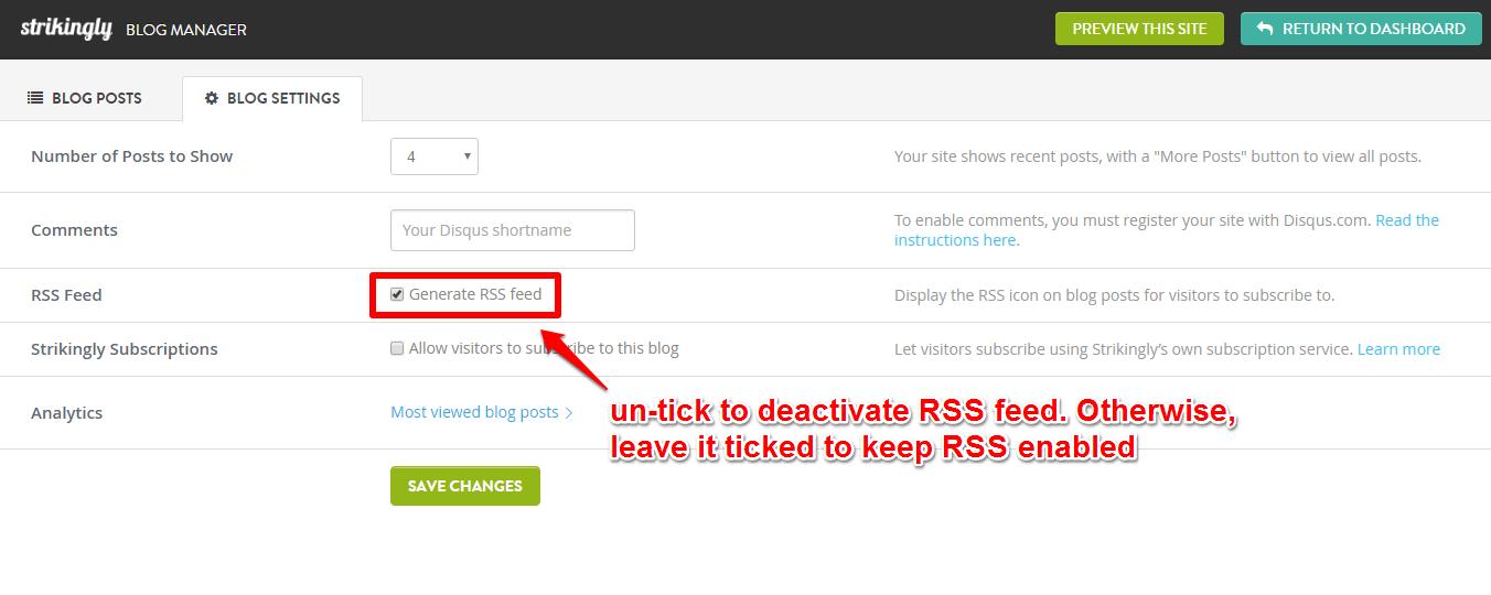 how do i enable a rss feed for my strikingly blog? \u2013 strikingly help